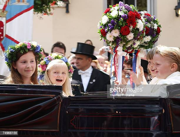 Page Boys and Flower Girls attend the wedding ceremony of Prince Alexander zu Schaumburg Lippe and Nadja Anna Zsoeks at the city church on June 30...