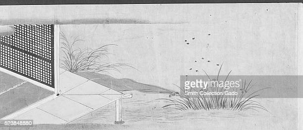Page from a Japanese scroll showing embellishments and decorations including the corner of a traditional home Japan 1550 From the New York Public...