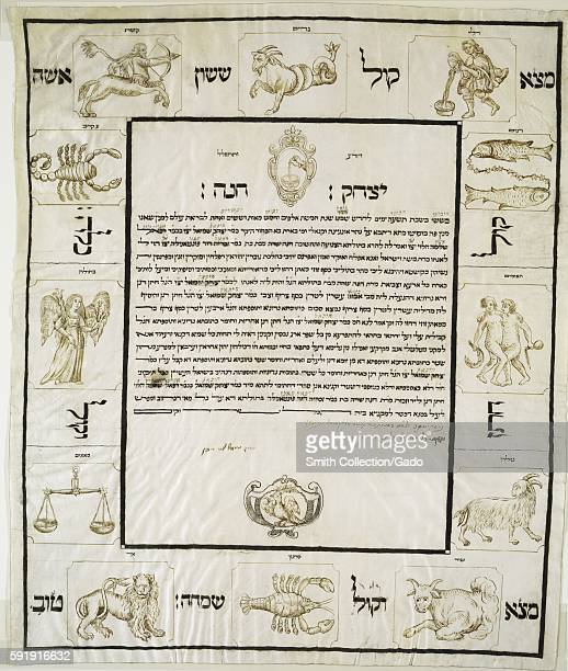 A page from a Ketubah which is a form of marriage agreement in Jewish religious tradition decorated with symbols of the Zodiac Busseto Italy 1801...