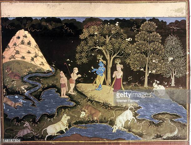 Page from a series of illustrations for Bhagavad Purana Krishna and his brother Balarama in the forest with the cowherds India Hindu Circa 1700 Mewar