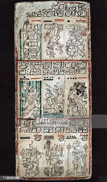 Page from Dresden Maya manuscript showing section of a 'tonalamatl' a sacred season of 260 days God Quetalcoatl is represented to left and right...