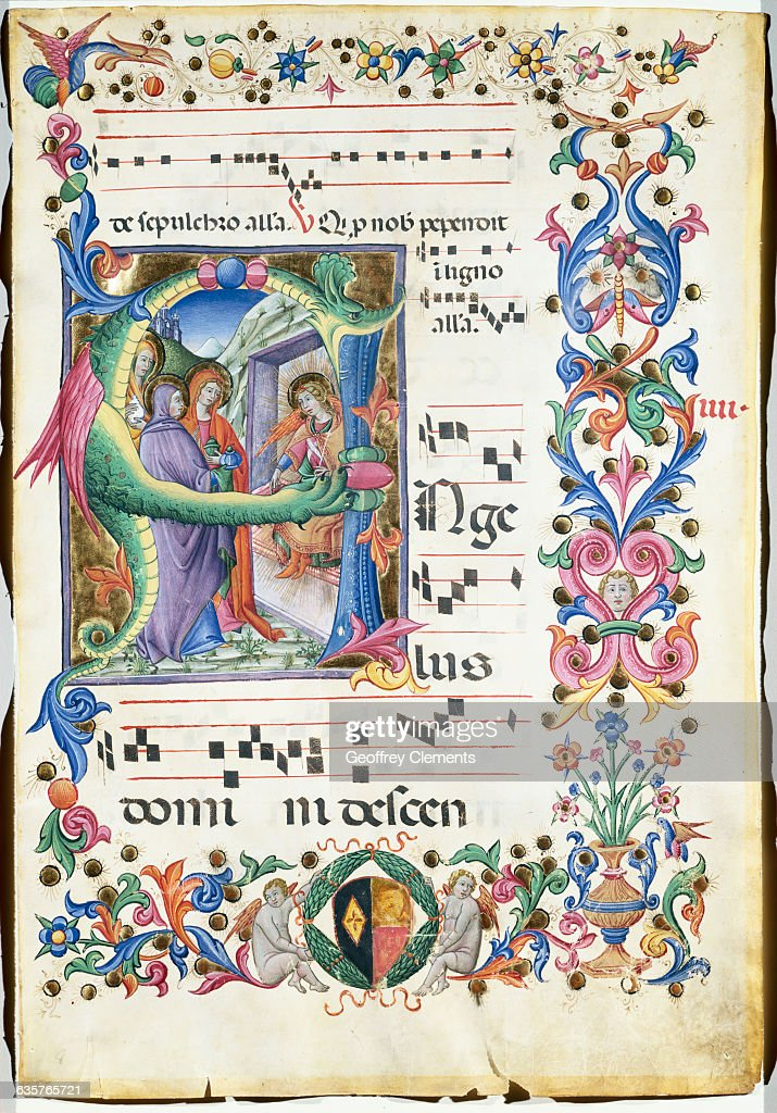 Page from Medieval Hymnal Depicting Archangel Michael Weighing the Souls of the Dead