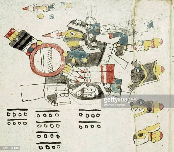 Page from the Codex Cospi An aspect of Tezcatlipoca the black aspect associated with death black magic and the north His robe is decorated with a...