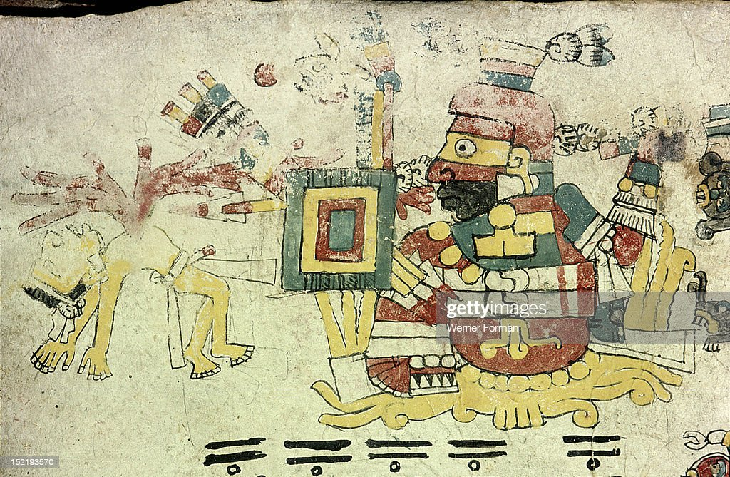 Page from the Codex Cospi An aspect of Tezcatlipoca the red aspect In this form he becomes Xipe Totec the god of sunset and sacrificial pain with the...