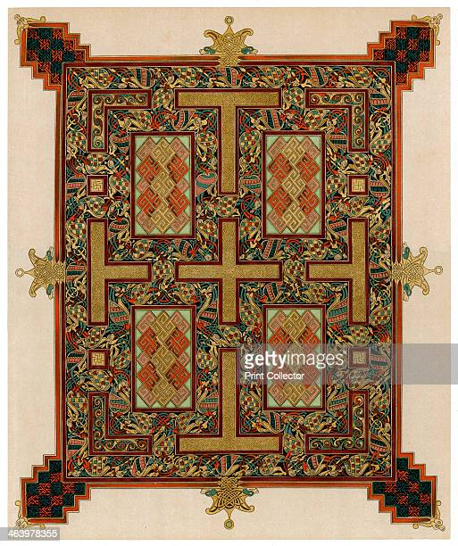 Page from the Lindisfarne Gospels 710721 AD Gospel of St John the Evangelist originally produced in Lindisfarne North East England Illustration from...