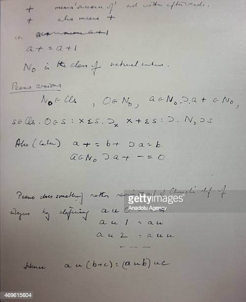 A page from the notebook of codebreaker Alan Turing is seen at Bonham's auction house during an auction in New York on April 13 2015 The paper in...