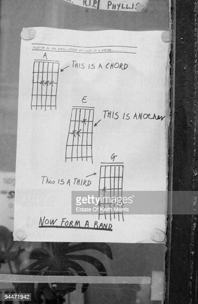 A page from the punk fanzine 'Sniffin' Glue' with three guitar chords and the instruction 'Now Form A Band' circa 1977