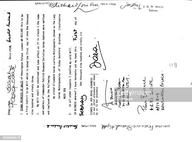 A page from the will of Diana Princess of Wales bearing her signature and those of her estate's executors which include her mother Frances Shand Kydd...