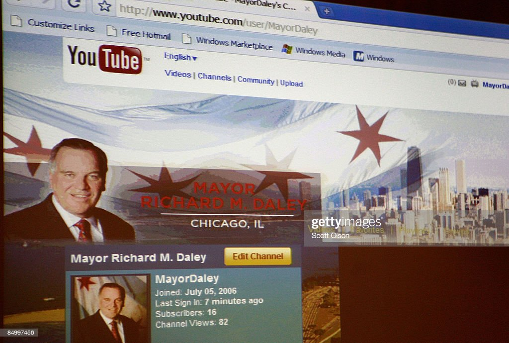 A page from the YouTube channel of Chicago Mayor Richard M. Daley is displayed during a press conference at the Google Chicago office February 23, 2009 in Chicago, Illinois. The channel will offer a behind the scenes look at the mayor's duties.