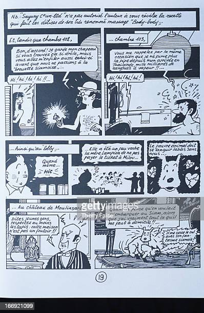 A page from 'Tintin in Thailand' a parody of the adventures of the famous Belgian cartoon reporter