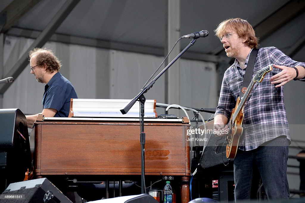 Page McConnell and <a gi-track='captionPersonalityLinkClicked' href=/galleries/search?phrase=Trey+Anastasio&family=editorial&specificpeople=214116 ng-click='$event.stopPropagation()'>Trey Anastasio</a> of Phish performs during the 2014 New Orleans Jazz & Heritage Festival at Fair Grounds Race Course on April 26, 2014 in New Orleans, Louisiana.