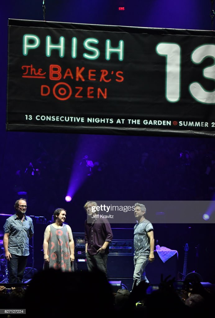 Page McConnell, Jon Fishman, Trey Anastasio and Mike Gordon of Phish perform during 'The Baker's Dozen' Closing Night at Madison Square Garden on August 6, 2017 in New York City.