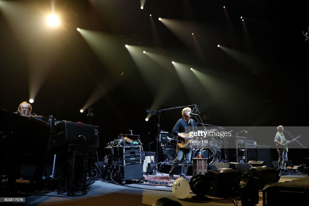 Page McConnell, Trey Anastasio, Jonathan Fishman, and Mike Gordon of Phish perform during 'The Baker's Dozen' Night 5 at Madison Square Garden on July 26, 2017 in New York City.