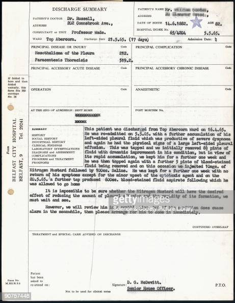 Hospital discharge summary for lung cancer patient 1965 Pictures – Discharge Summary