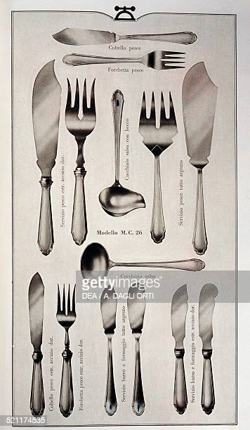 Page of a silverware catalogue table cutlery Italy 20th century Italy