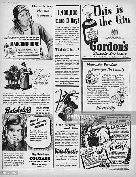 A page of adverts from Picture Post magazine including promotions for Gordon's Gin Vida elastic and Colegate 14th April 1945 Original publication...