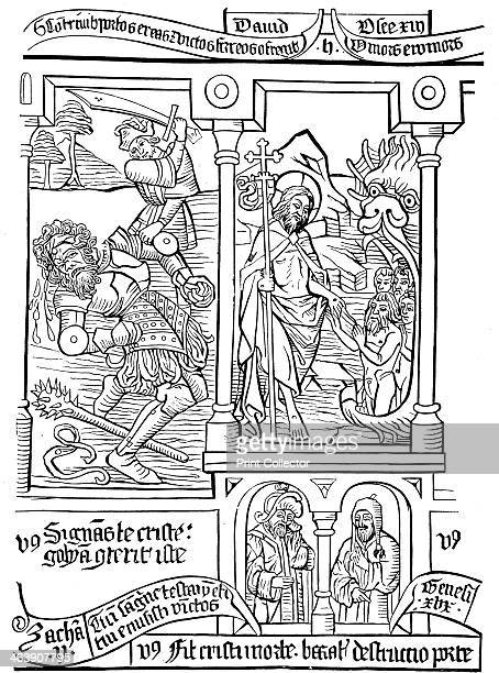 Page of Biblia Pauperum 15th century Left David slaying Goliath and right Christ descending into Limbo to release the souls of the Patriarchs This...