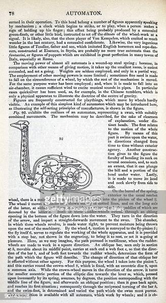 Page of text with an illustration of a mechanical swan from 'A Dictionary of Arts Manufactures and Mines' by Andrew Ure Dr Andrew Ure was a professor...