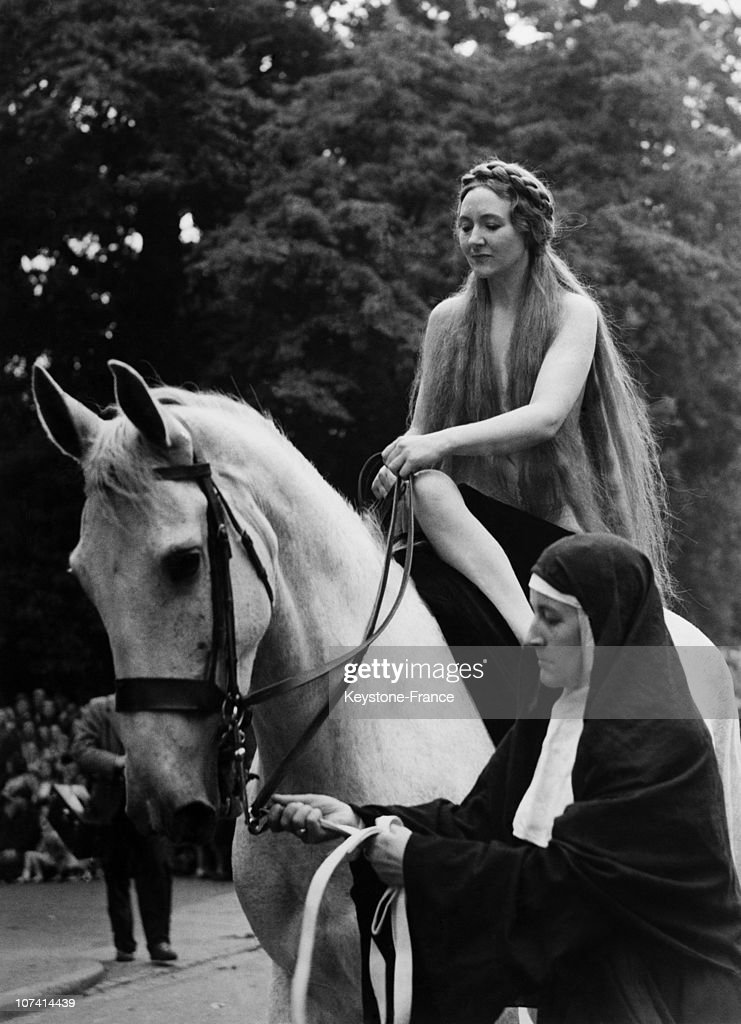 Pageant British Festival Lady Godiva On A White Horse In Coventry On June 23Rd 1951
