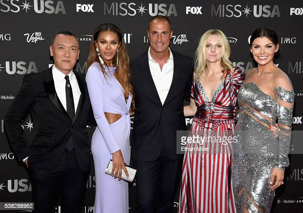 Pageant judges Joe Zee Crystle Stewart Nigel Barker Laura Brown and Ali Landry attend the 2016 Miss USA pageant at TMobile Arena on June 5 2016 in...