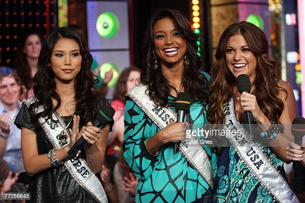 'Pageant Place' cast members Miss Universe Riyo Mori Miss USA Rachel Smith and Miss Teen USA 2007 Hilary Cruz appear onstage with host Damien Fahey...