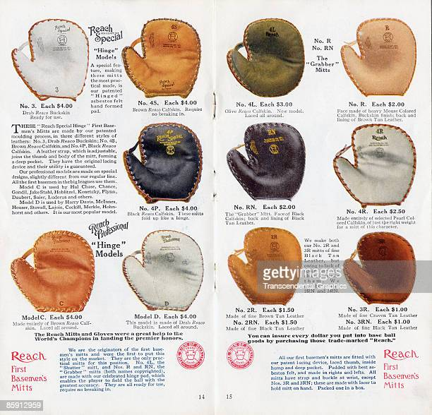 Pages 14 and 15 of a Reach Special baseball glove catalog showing different first baseman's gloves on offer Prices range between $1 and $4 1913