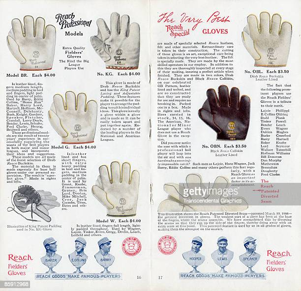 Pages 16 and 17 of a Reach Special baseball glove catalog showing different fielder'ss gloves on offer Prices range between $350 and $4 1913