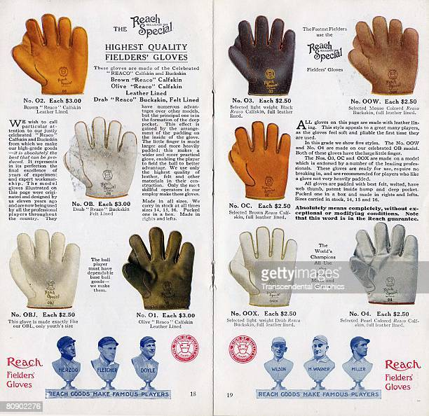 Pages 18 and 19 of a Reach Special baseball glove catalog showing different fielding models Prices range between $2 50 and $3