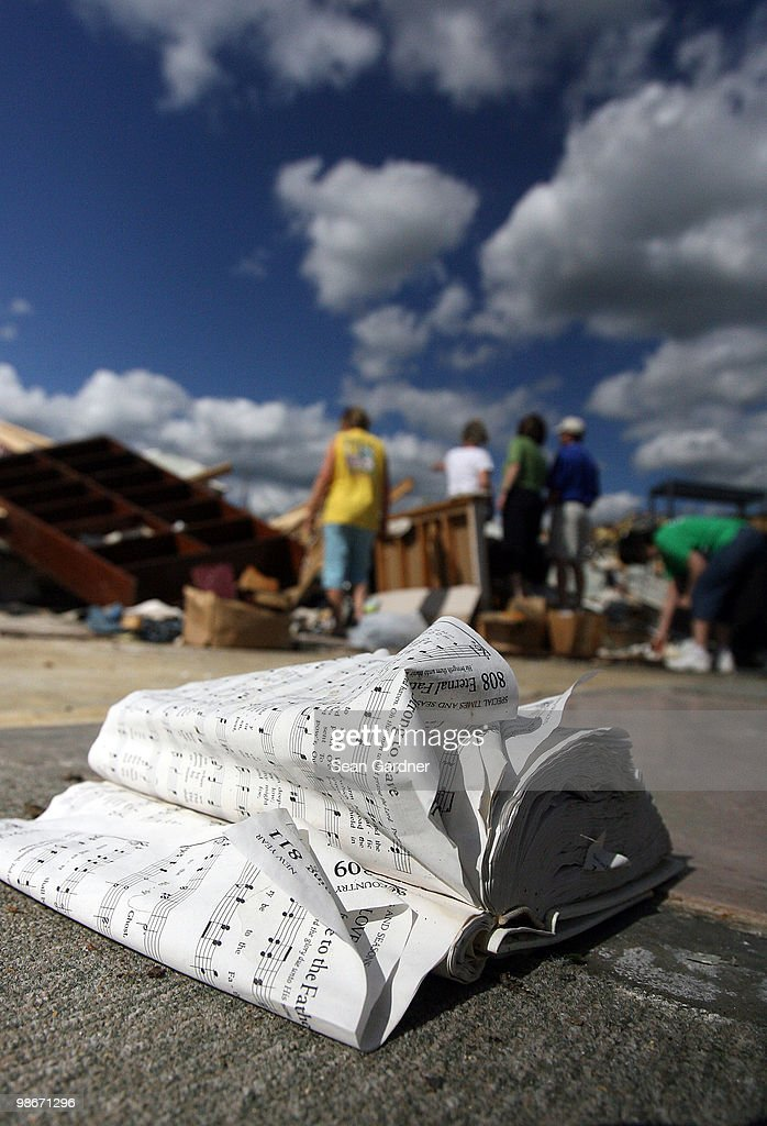 Pages of a hymnal flap in the wind in front of what was the Hillcrest Baptist Church April 25 2010 in Yazoo City Mississippi On Saturday a massive...