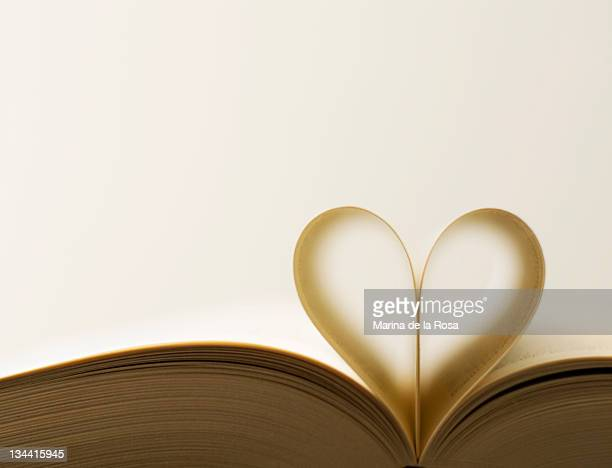 Pages of book forming heart shape