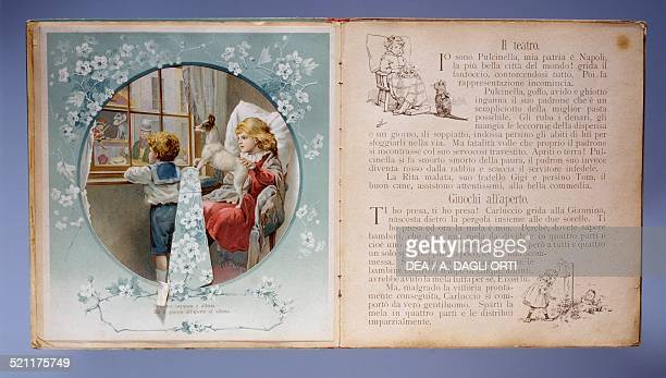 Pages of Gira Gira children's book with illustrations that move using Volvelles published by Hoepli Milan early 20th century Milan Museo Del...
