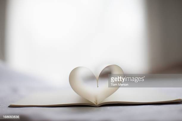 pages of notebook form heart-shape