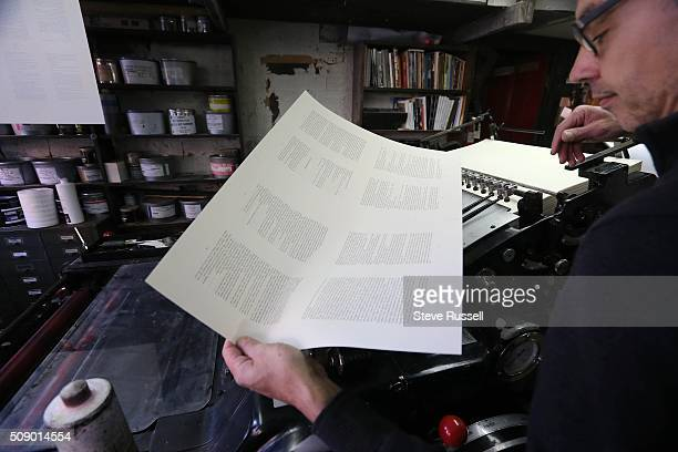 Pages that roll off a Heidelberg offset and letterset press they are checked for spacing Coach House Press is a small books publisher The press is...
