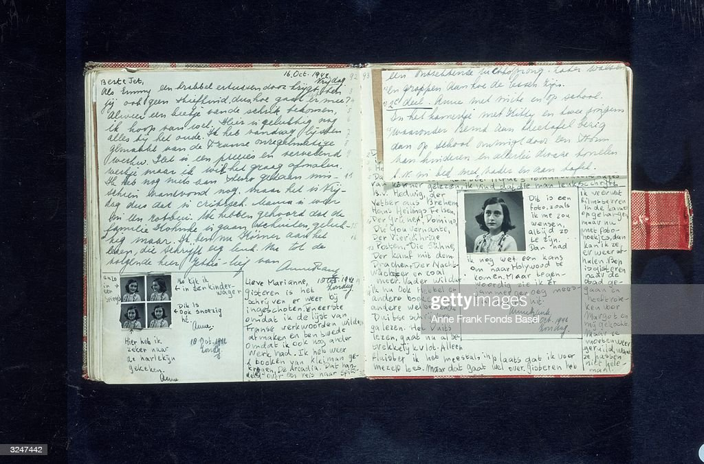 Pages with text and photos from Anne Frank's diary, written in October 1942.