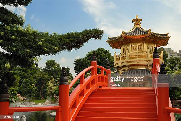 pagoda and red bridge in chinese garden