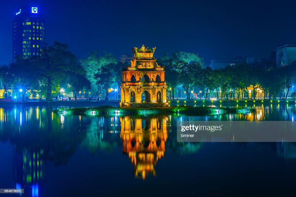 Pagoda on Hoan Kiem lake