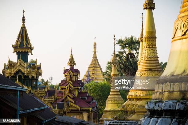 Pagodas and golden rooftops in Mawlamyine (Moulmein), Mon State, Southern Myanmar (Burma)