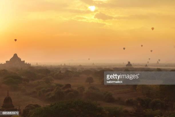 pagodas and the cloud at sunrise in Bagan, Mandalay, Myanmar