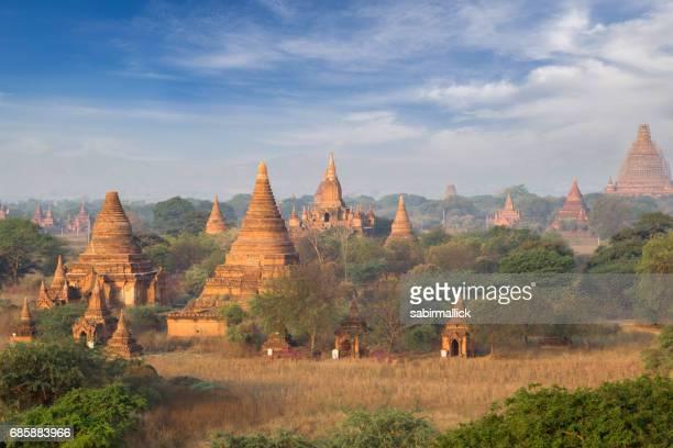 pagodas in clouds at Bagan, Mandalay, Myanmar