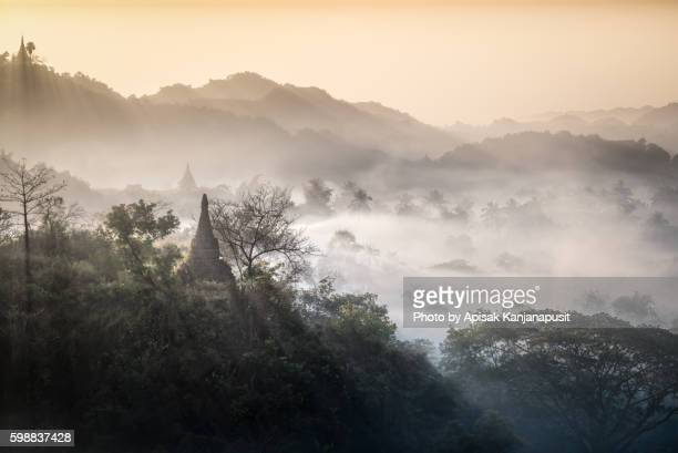 Pagodas on a hill at Mrauk U