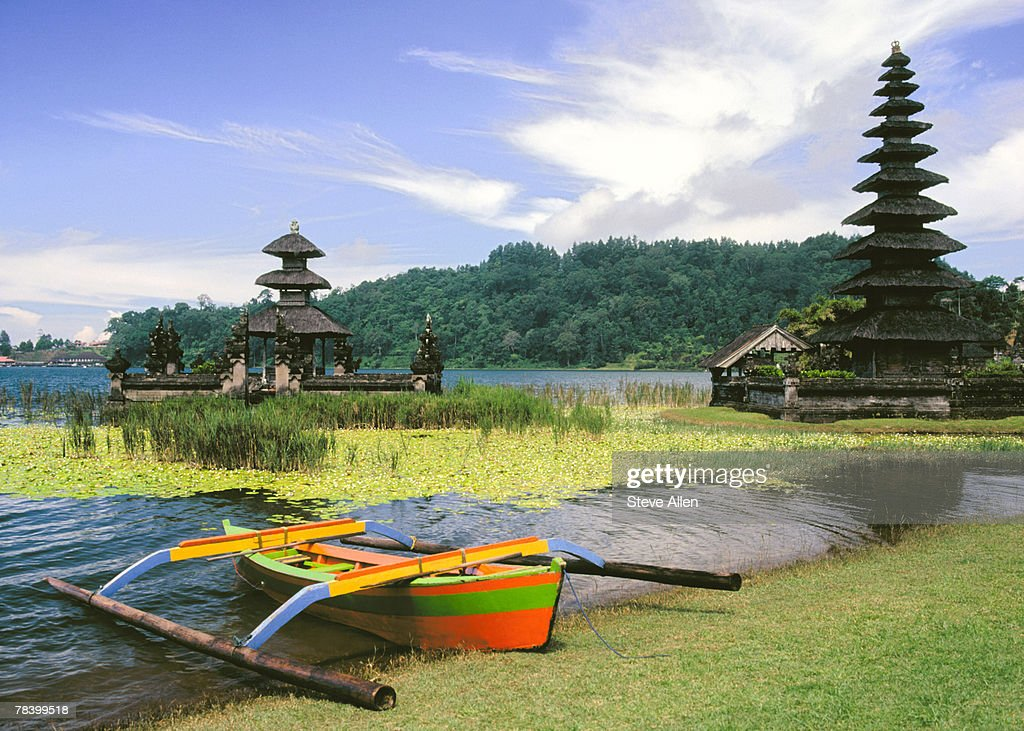 Pagodas with tranquil moat, Bali : Stock Photo