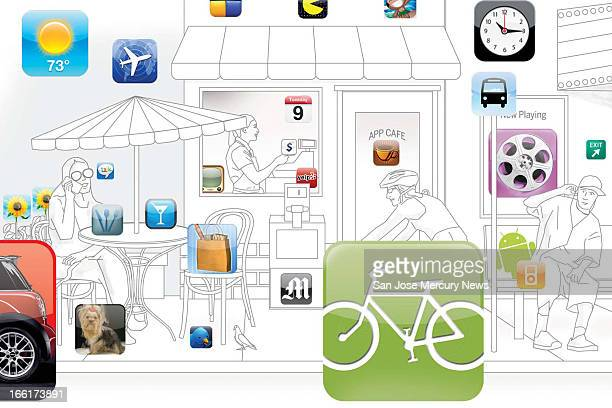 Pai color illustration of city street scene with Apple iPhone app icons at appropriate locations restaurant icon on cafe table bike trail icon by...