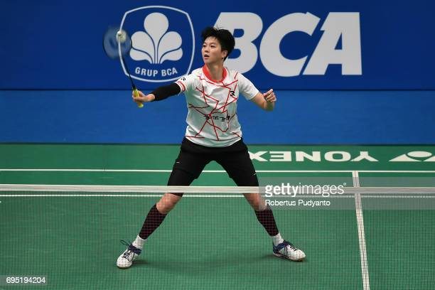 Pai Yu Po of Chinese Taipei competes against Yulia Yosephin Susanto of Indonesia during Womens single qualification round match of the BCA Indonesia...