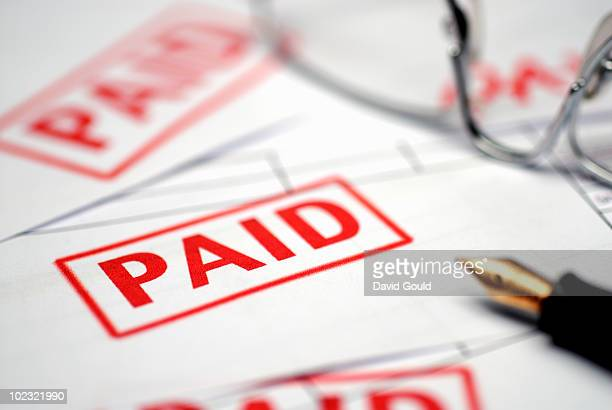 Paid bills rubber stamp