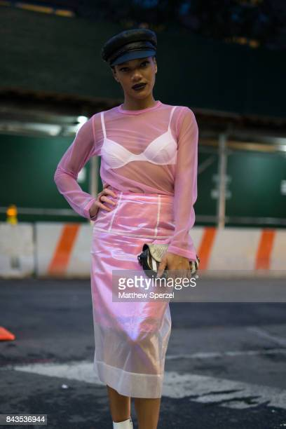 Paige Graham is seen attending VFILES during New York Fashion Week wearing Marc Jacobs Miu Miu and Junya Wanatabe on September 6 2017 in New York City