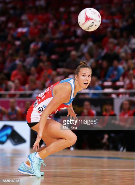 Paige Hadley of the Swifts follows the ball during the round 14 Super Netball match between the Swifts and the Firebirds at Qudos Bank Arena on May...