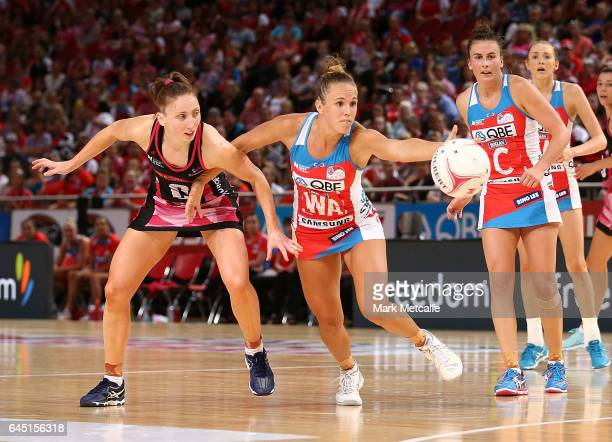 Paige Hadley of the Swifts in action during the round two Super Netball match between the Sydney Swifts and the Adelaide Thunderbirds at Qudos Bank...
