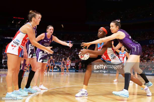 Paige Hadley of the Swifts passes the ball to Sam Wallace of the Swifts during the round 14 Super Netball match between the Swifts and the Firebirds...
