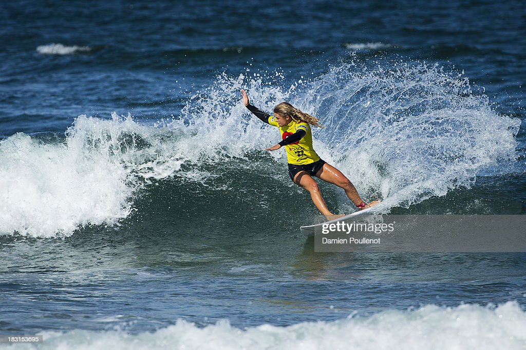 Paige Hareb from New Zeland was defeated by Coco Ho in the quarter final at EDP Girls Pro on October 5, 2013 in Cascais, Portugal.