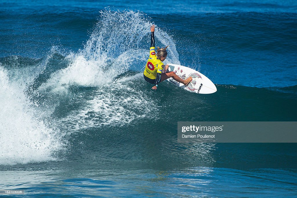 Paige Hareb of New Zeland in action as she defeats Silvana Lima of Brazil in Round 4 of the EDP Girls Pro on October 4, 2013 in Cascais, Portugal.